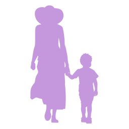 Mother and son walking silhouette