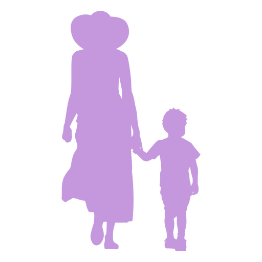 Mother and son walking silhouette Transparent PNG