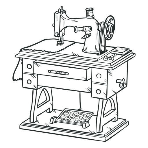Old sewing machine hand drawn