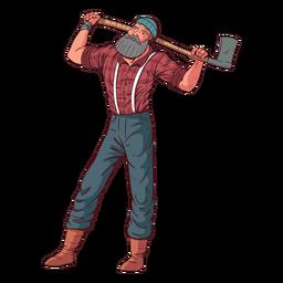 Personaje de leñador posando