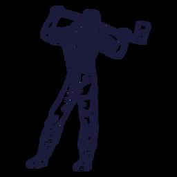 Posing lumberjack character hand drawn