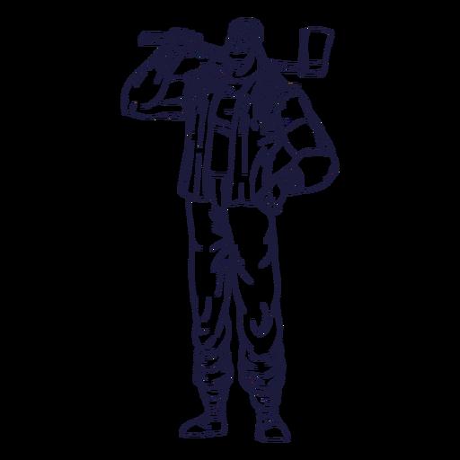 Orgulloso personaje de leñador dibujado a mano
