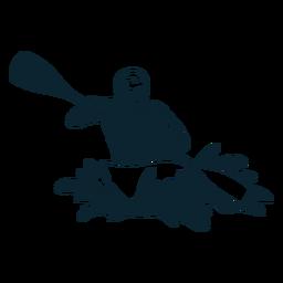Personaje de rafting en blanco y negro.
