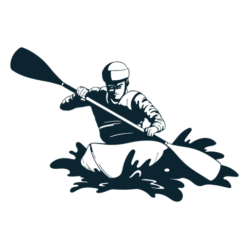 Rafting personaje en blanco y negro Transparent PNG
