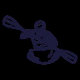 Dibujado a mano personaje de rafting