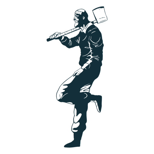 Leñador relajado personaje azul Transparent PNG