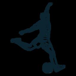 Personagem de jogador de futebol em preto e branco
