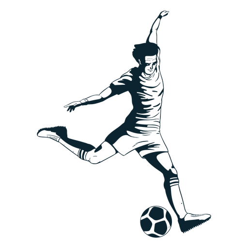 Soccer player character black and white Transparent PNG