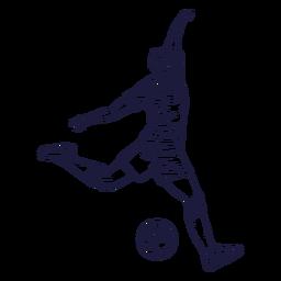 Dibujado a mano personaje de jugador de fútbol