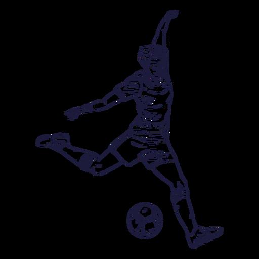 Personagem de jogador de futebol desenhada à mão