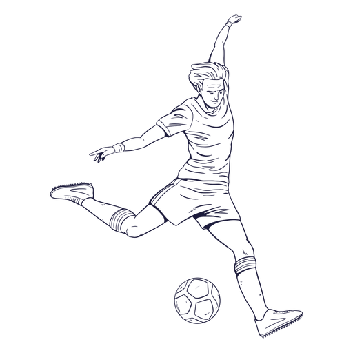 Soccer player character hand drawn