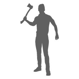 Standing lumberjack with axe silhouette