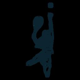 Tennisspieler Charakter schwarz und weiß