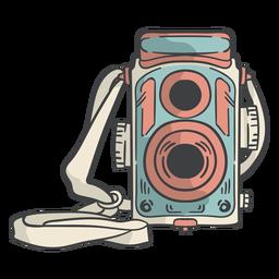 Mão de câmera de filme vintage desenhada