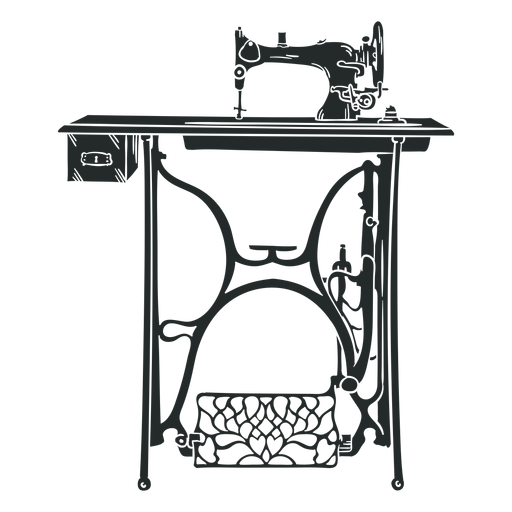 Vintage sewing machine table black Transparent PNG