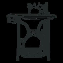 Mesa de máquina de coser vintage dibujado a mano