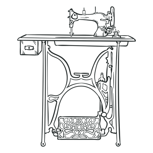Vintage sewing machine table hand drawn Transparent PNG