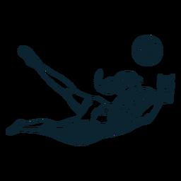 Carácter de jugador de voleibol en blanco y negro
