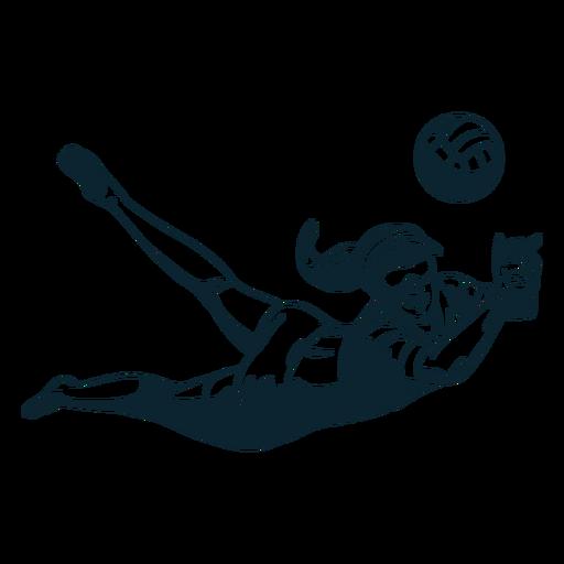 Personagem de jogador de vôlei preto e branco Transparent PNG
