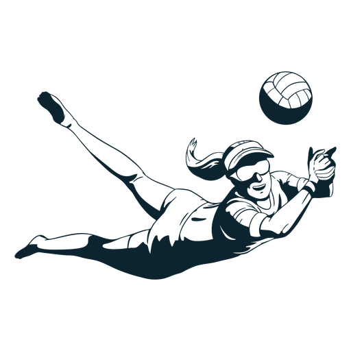 Volleyball player character black And White Transparent PNG