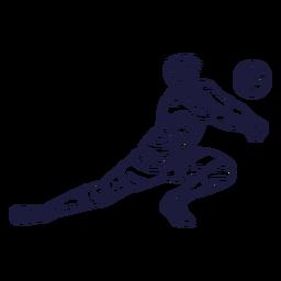 Dibujado a mano personaje de jugador de voleibol