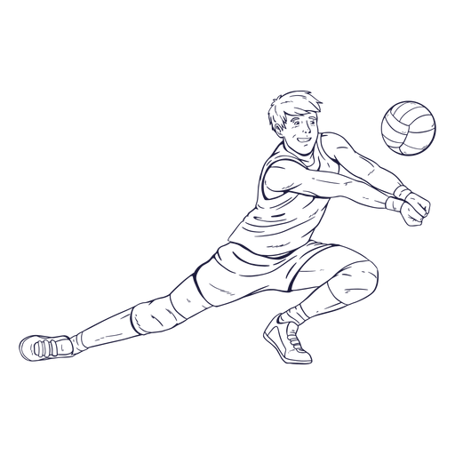 Volleyball player character hand drawn