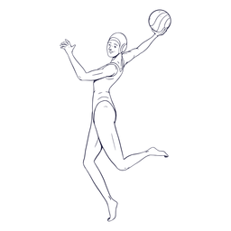 Waterpolo female player character hand drawn