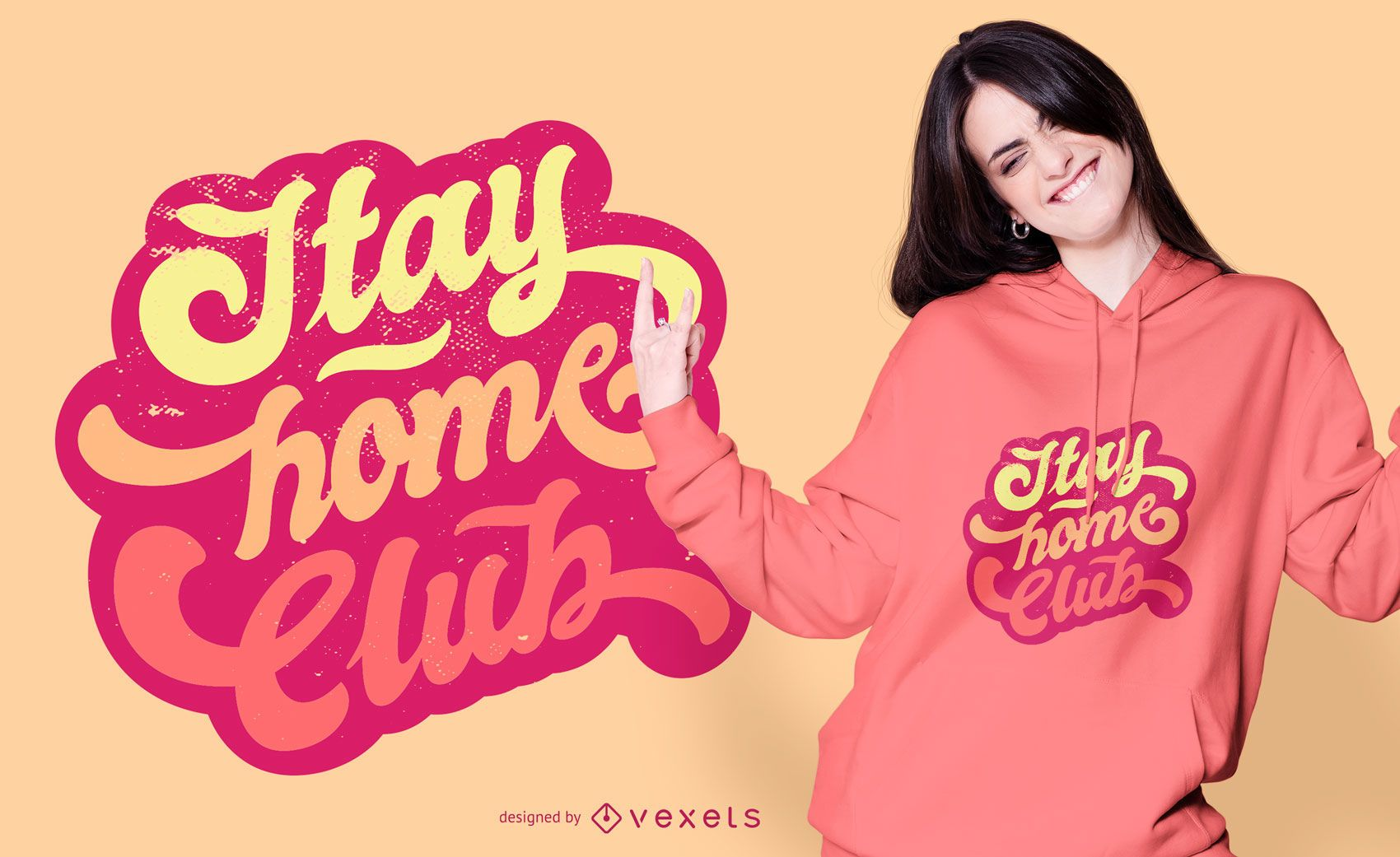 Dise?o de camiseta Stay Home Club Lettering