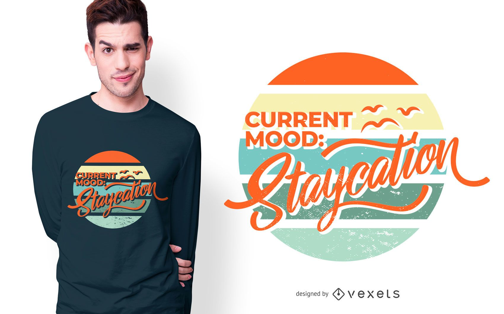 Staycation Vacation Text T-Shirt Design