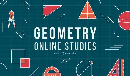 Diseño de portada de educación en línea de geometría