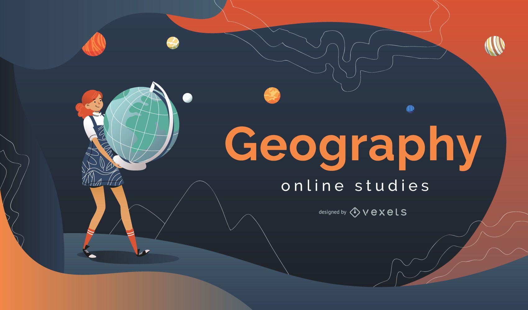 Diseño de portada de estudios en línea de geografía