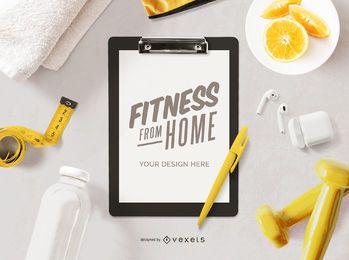Fitness from home clipboard mockup