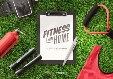 Composición de maqueta de portapapeles de fitness