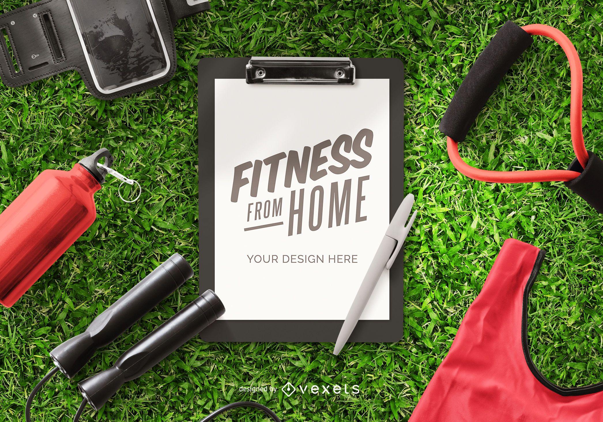 Composição de maquete de área de transferência de fitness