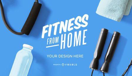 Diseño de maqueta de fitness desde casa