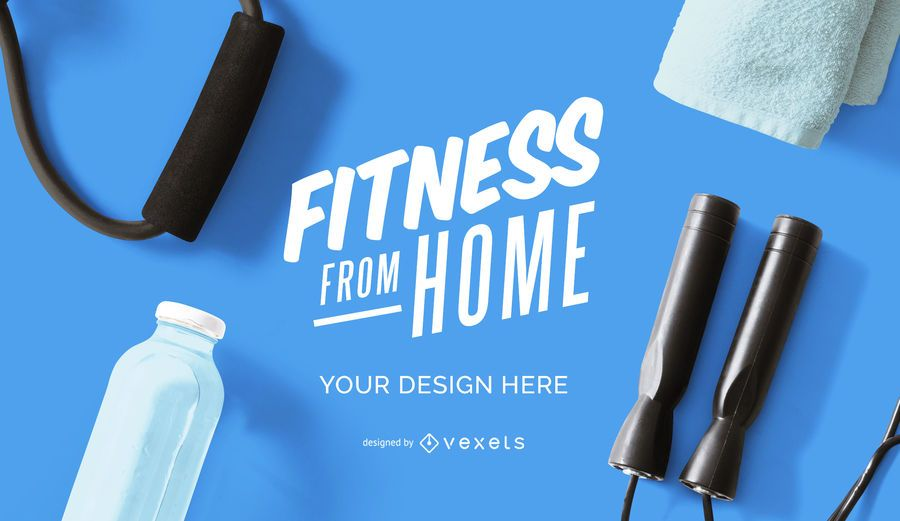Fitness from home mockup design