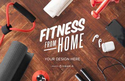 Composición de maqueta de fitness desde casa