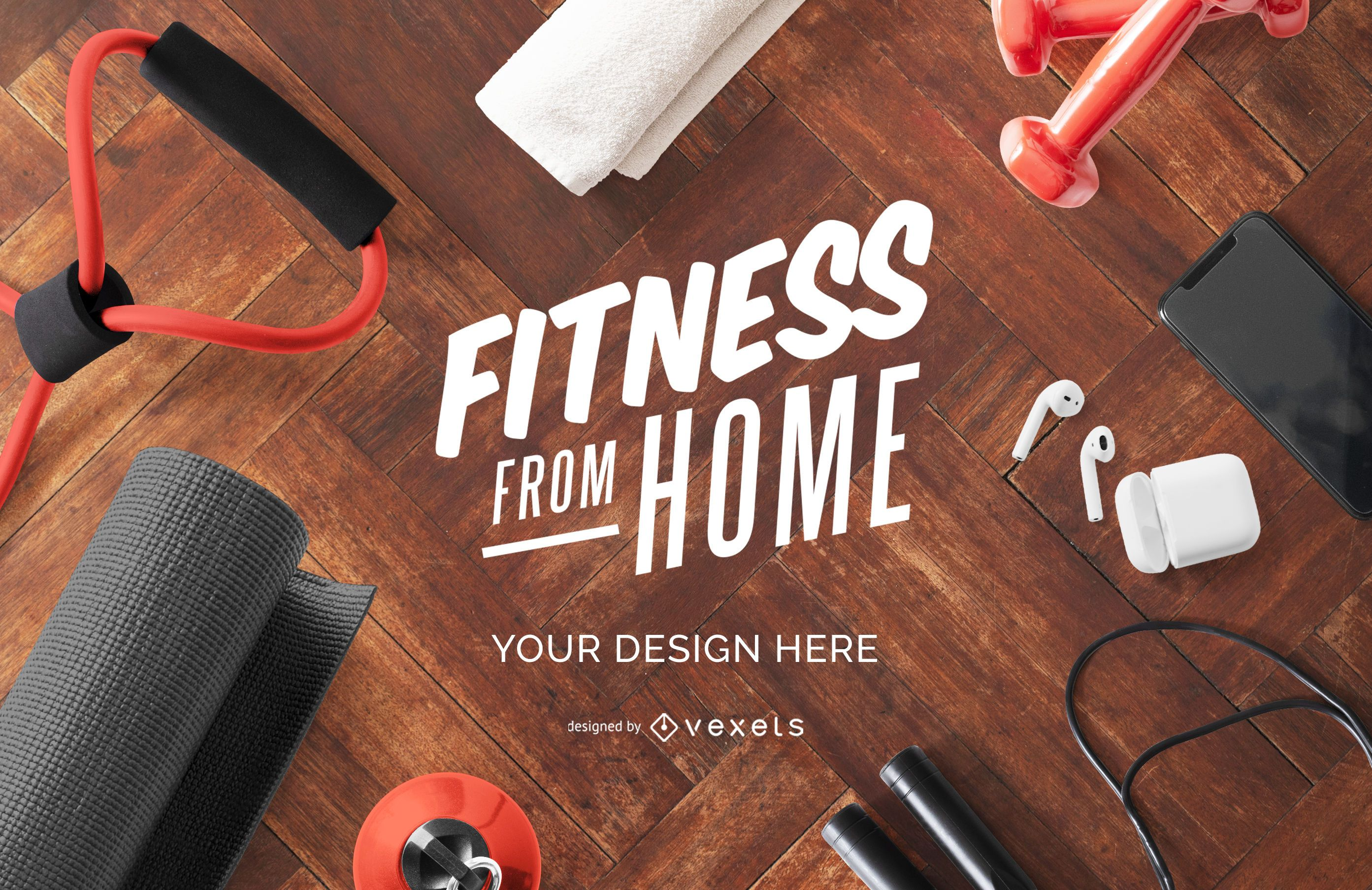 Fitness from home mockup composition