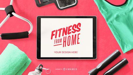 Composição de maquete de ipad de fitness