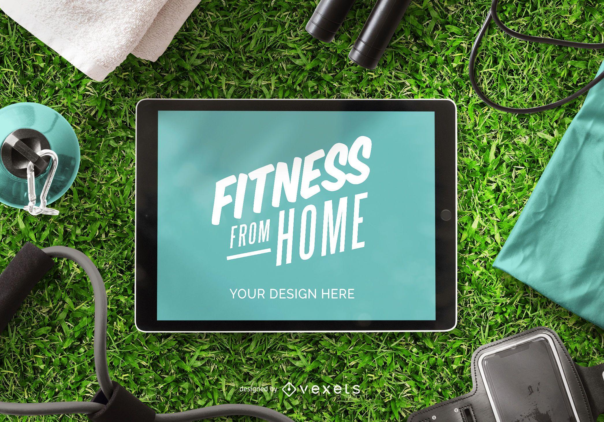 Maquete de ipad de fitness de casa