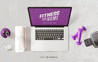 Fitness desde maqueta de computadora en casa