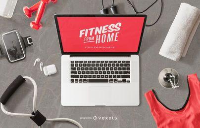 Composición de maqueta de computadora fitness