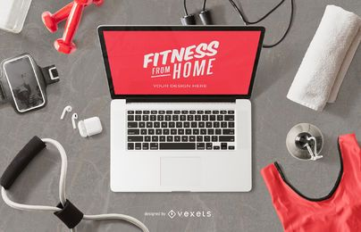 Fitness computer mockup composition
