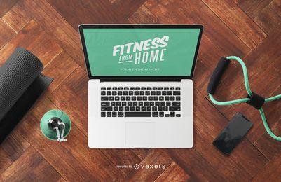 Maquete de laptop em casa fitness