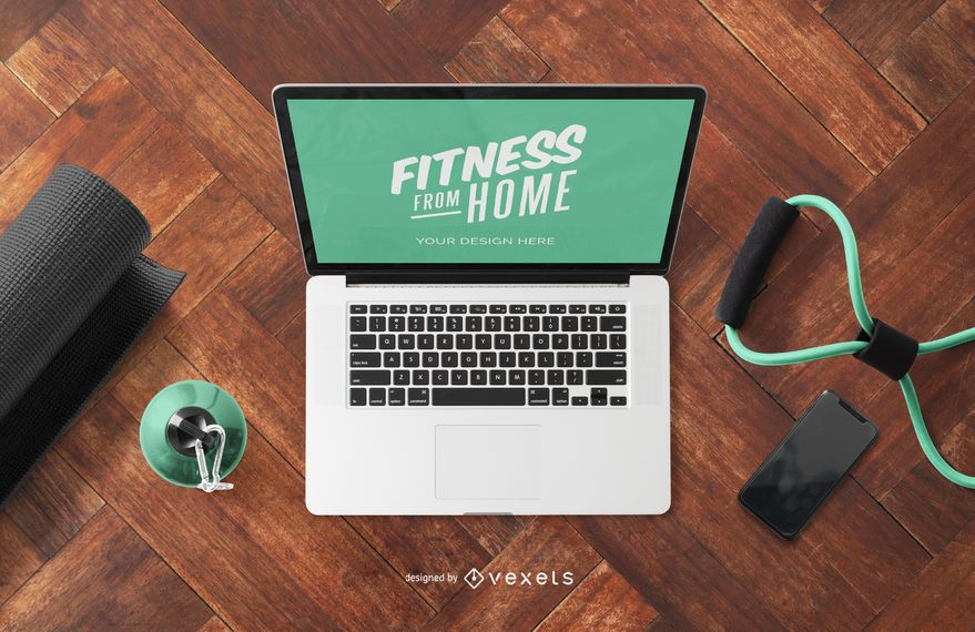 Fitness from home laptop mockup