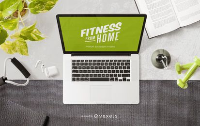 Fitness laptop mockup composition