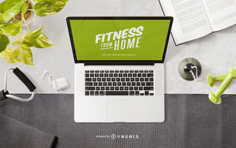 Composición de maqueta de portátil fitness