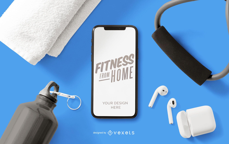 Fitness da maquete de telefone de casa