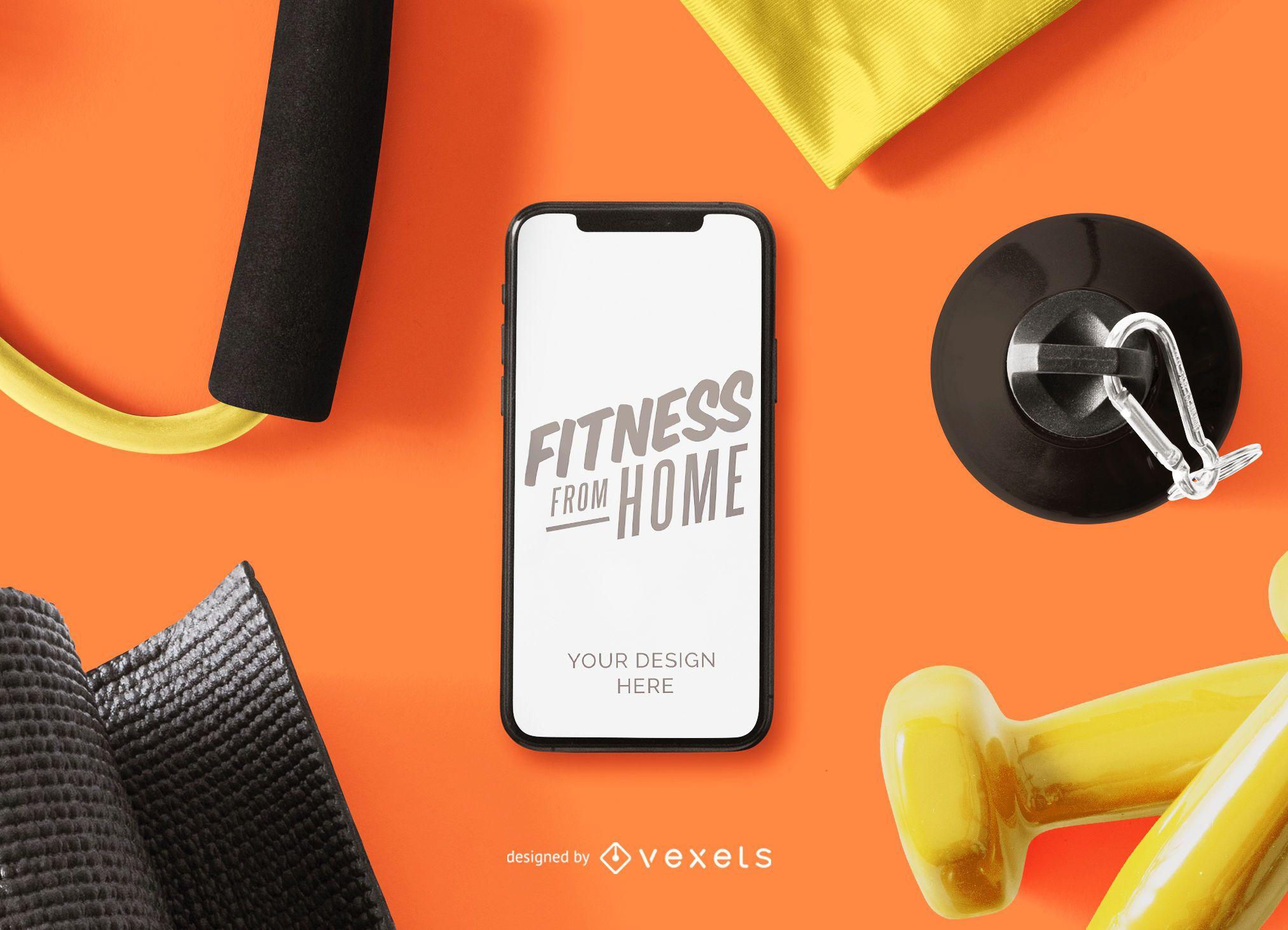 Composição de maquete de telefone de fitness