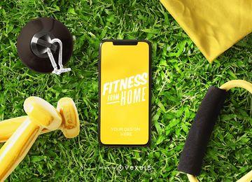Fitness desde el diseño de maqueta de teléfono residencial